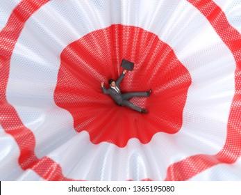 man falling on the red target, 3d illustration