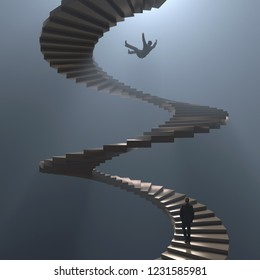 man falls from spiral staircase, 3d illustration