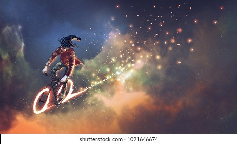 man with fancy clothes riding bicycle with glowing wheels in outer space, digital art style, illustration painting