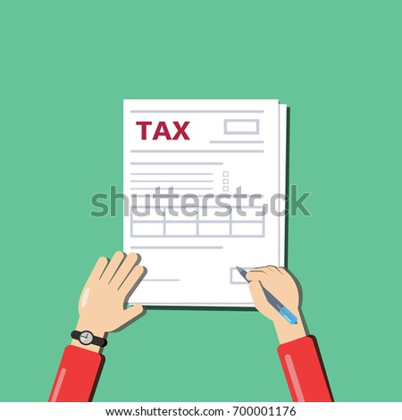 Man filling documents. Men's hands hold the pen and fill tax form. Top view. The modern flat design on the green background. Illustration