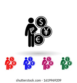 man with finance degree multi color icon. Simple glyph, flat of student degree icons for ui and ux, website or mobile application