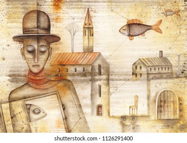 Man and fishes