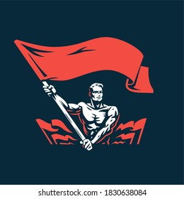 A man with a flag. A muscular man with a naked torso waves a large flag. Lots of flags. Protest, meeting, demonstration.