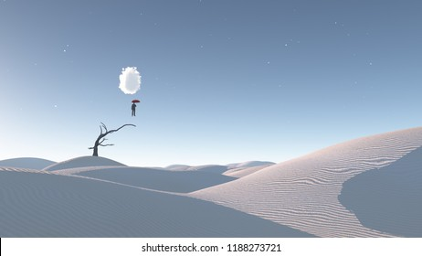 Man Floats in mid air in surreal desert landscape. 3D rendering