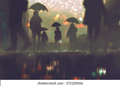 Man With Flowers Bouquet Holding Umbrella Standing Alone In A Crowds Of People Crossing The Street