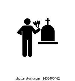 Man funeral flower sorrow weep icon. Element of pictogram death illustration