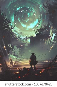 man with futuristic arm looking at glowing spiral wind over the ruined city, digital art style, illustration painting