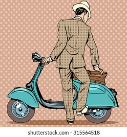 A man gets a scooter. Vintage retro transport road trip