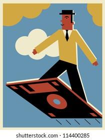 A man getting a magic carpet ride on a diskette