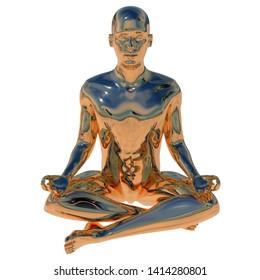 Man golden stylized sitting in lotus pose polished figure. Human mental guru character glossy statue. Peaceful nirvana mind soul body balance symbol. 3d illustration