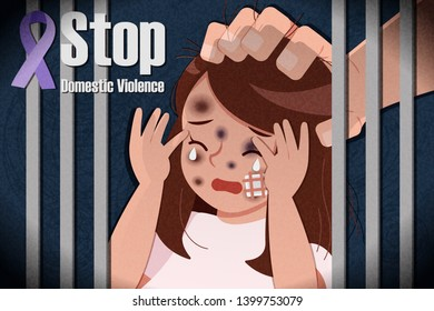 a man grasp womans head with domestic violence issue