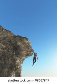 Man hanging on mountain edge