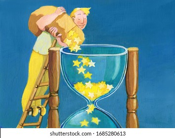 man with happy face on top of a ladder pours many stars into a big hourglass allegory of optimism