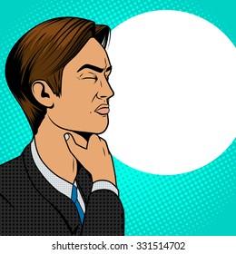 Man with hard sore throat old comic book pop art retro style raster illustration