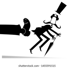 Man has been given a kick to the ass illustration. Long mustache man in the top hat with umbrella has been given a kick to the ass black on white