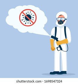 Man in hazmat. Protective suit, gas mask and gas cylinder for disinfection coronavirus COVID-19. Toxic and chemicals protection. Biological precaution. Illustration cartoon design.
