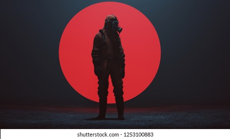 Man in a Hazmat suit with a Big Red Alien Sphere in a foggy void 3d Illustration 3d render