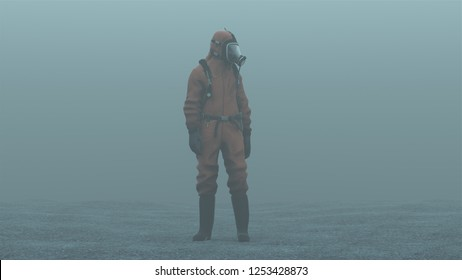 Man in a Hazmat suit foggy overcast wasteland 3d Illustration 3d render