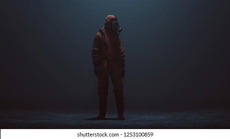 Man in a Hazmat suit in a foggy void 3d Illustration 3d render