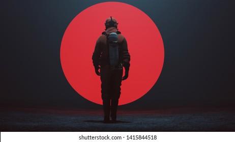 Mann in einem Hazmat Anzug Wandern zu einem großen, roten Elternteil in einem nebligen Leere 3D Illustration 3d rendern