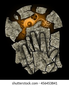 Man head Depression headache stress. Man holding his head.Photo-montage with Dry cracked earth and gear symbolizing Depression, Headache,  dementia.
