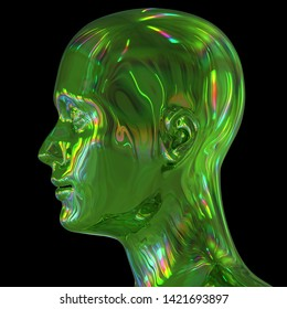 Man head silhouette stylized metallic green glossy colorful reflections. Human profile science fiction creativity concept. 3d illustration, isolated on black