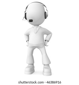 Man with headphones. 3d image isolated on white background.