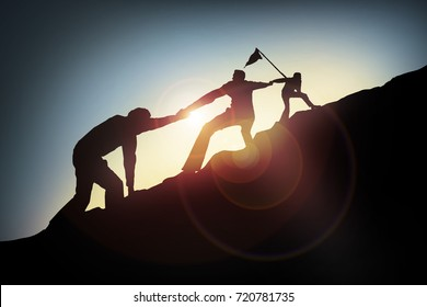 a man help his friend to target,Success concept