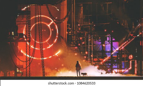 man with his dog looking at the futuristic factory, digital art style, illustration painting