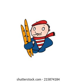 Man holding baguettes illustration; French man