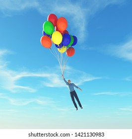 Man holding balloons rising up to the sky. This is a 3d render illustration