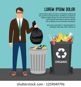 Man holding a big trash bag, near the garbage container, illustration