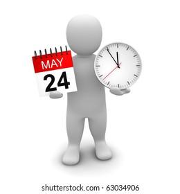 Man holding clock and calendar. 3d rendered illustration.