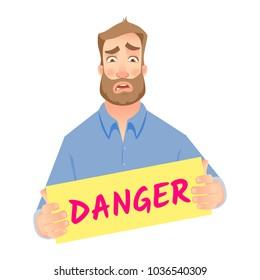Man holding danger sign illustration. Business risk. Business communication icon