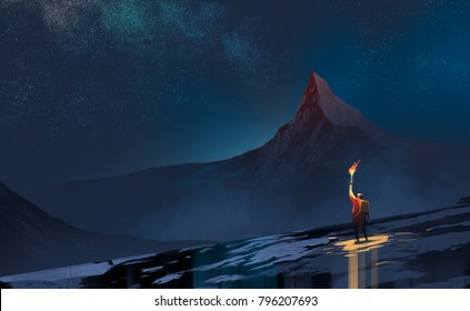 a man holding fire torch in the dark agains snow mountains and many stars in midnight. searching for solution or loneliness concept.