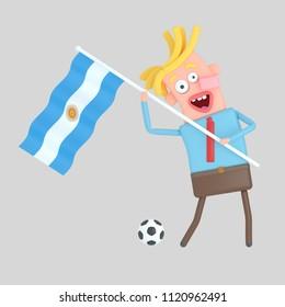 Man holding a flag of Argentina. 3d illustration