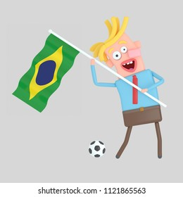 Man holding a  flag of Brazil. 3d illustration