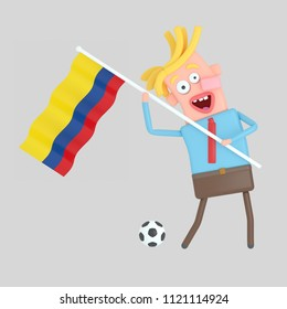 Man holding a flag of Colombia. 3d illustation.