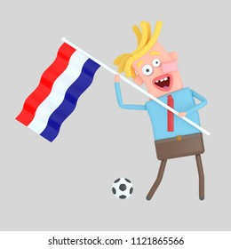 Man holding a  flag of Croatia. 3d illustration