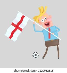 Man holding a flag of England. 3d illustration