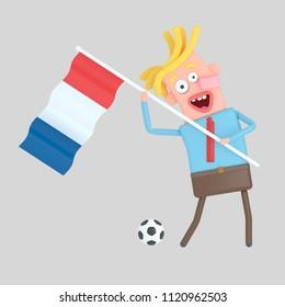 Man holding a flag of France. 3d illustration