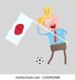 Man holding a flag of Japan. 3d illustration