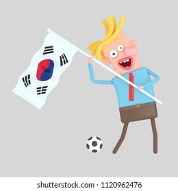 Man holding a flag of Korea. 3d illustration