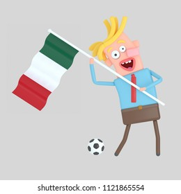 Man holding a flag of Mexico. 3d illustration