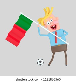 Man holding a flag of Portugal. 3d illustration
