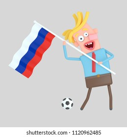 Man holding a flag of Russia. 3d illustration