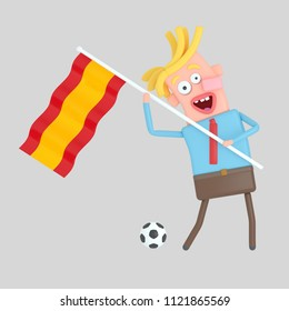 Man holding a flag of Spain. 3d illustration