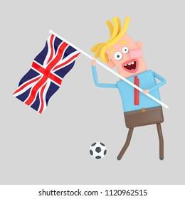 Man holding a flag of UK. 3d illustration