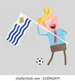Man holding a flag of Uruguay. 3d illustration