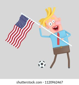 Man holding a flag of USA. 3d illustration
